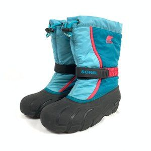 Kids Pink Blue SOREL Lined Winter Snow Boots 6